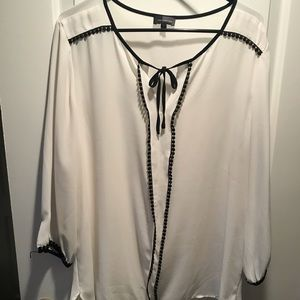White dress blouse with crochet detail